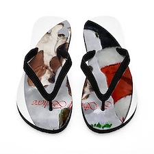 basset hounds christmas text 2 Flip Flops