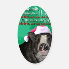 deck-the-halls Oval Car Magnet