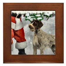 german wirehaired pointer christmas ap Framed Tile