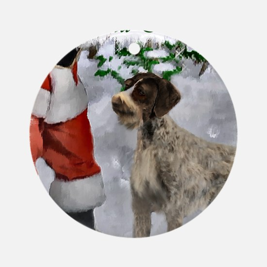 german wirehaired pointer christmas Round Ornament