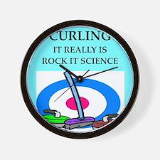 i love curling Wall Clock
