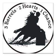 "3 barrels 2 hearts Square Car Magnet 3"" x 3"""
