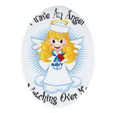 Angel-Watching-Over-Me-Navy Oval Ornament