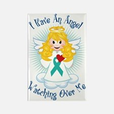 Angel-Watching-Over-Me-Teal-Ribbo Rectangle Magnet