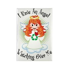 Angel-Watching-Over-Me-Recycling Rectangle Magnet