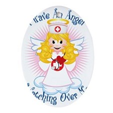 Angel-Watching-Over-Me-Nurse Oval Ornament