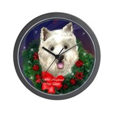 west highland christmas lighter c Wall Clock