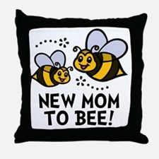 New Mom Bee Throw Pillow
