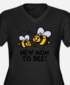 New Mom Bee Women's Plus Size Dark V-Neck T-Shirt