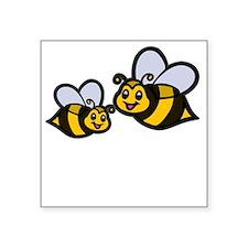 "New Mom Bee -dk Square Sticker 3"" x 3"""