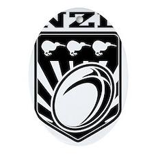 rugby ball kiwi shield new zealand Oval Ornament