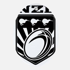 rugby ball kiwi shield new zealand Oval Ornament