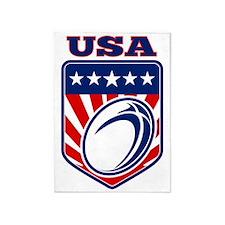 American rugby ball shield USA 5'x7'Area Rug