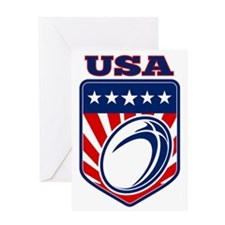 American rugby ball shield USA Greeting Card