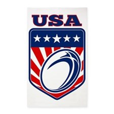 American rugby ball shield USA 3'x5' Area Rug