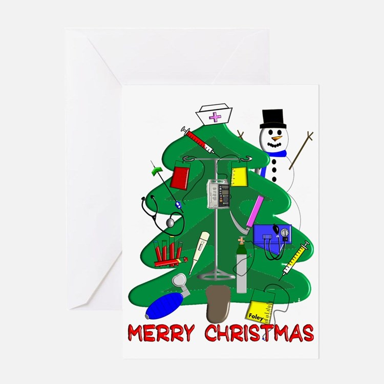 Merry Christmas NURSE TREE Greeting Card