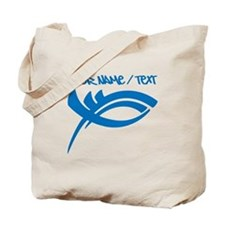 Blue Jesus Fish Tote Bag