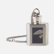 A solitary great egret gracefully b Flask Necklace