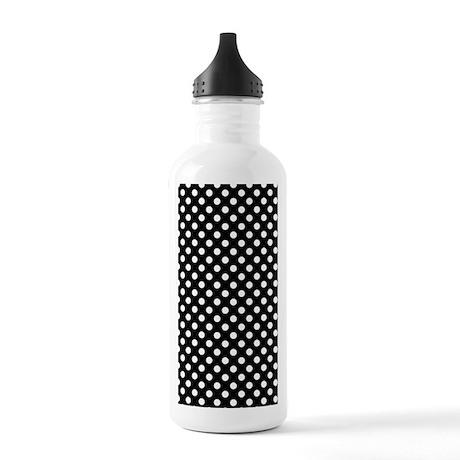 3GWhtpolkadotsBlk Stainless Water Bottle 1.0L