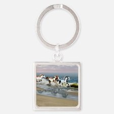 Painted Ocean Square Keychain