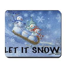 SNOWMEN SLEDDING YARD SIGN Mousepad