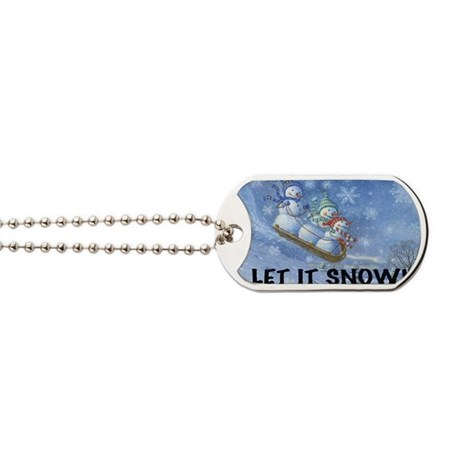 SNOWMEN SLEDDING YARD SIGN Dog Tags