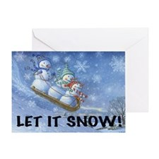 SNOWMEN SLEDDING YARD SIGN Greeting Card
