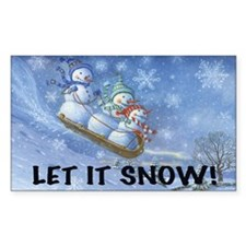 SNOWMEN SLEDDING YARD SIGN Decal