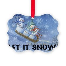 SNOWMEN SLEDDING YARD SIGN Ornament