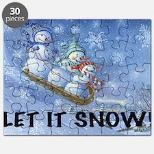 SNOWMEN SLEDDING YARD SIGN Puzzle