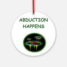 funny alien abduction ufo joke Ornament (Round)