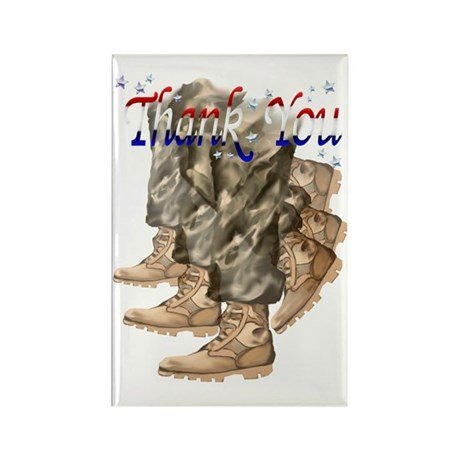 Thank You Vets Trans Rectangle Magnet