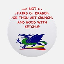 funny mustard dragon ketchup joke Ornament (Round)