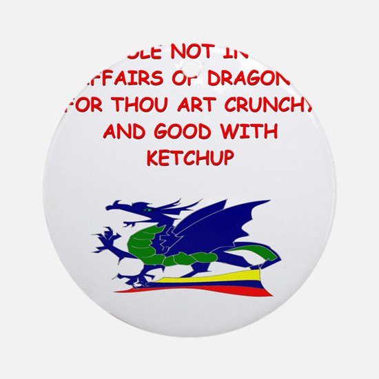 funny mustard dragon ketchup joke Ornament (Round)