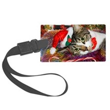 cat xmas room12x16 Luggage Tag
