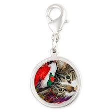 cat xmas room12x16 Silver Round Charm