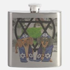 tiger and lily jewish12x16 Flask