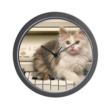 piano kitten pillow Wall Clock