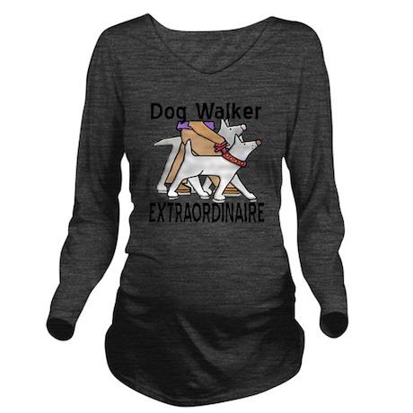 dogwalker Long Sleeve Maternity T-Shirt