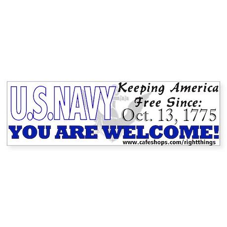 "U.S. NAVY ""Keeping America Free Bumper Sticker"