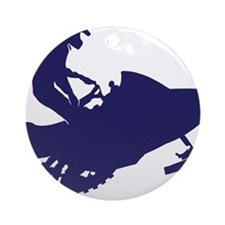 Navy-Snowmobiler Round Ornament