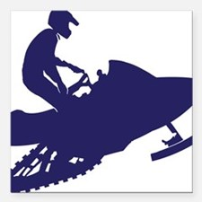 "Navy-Snowmobiler Square Car Magnet 3"" x 3"""