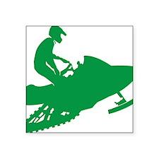 "Green-Snowmobiler Square Sticker 3"" x 3"""