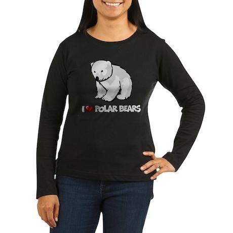 I Love Polar Bears Women's Long Sleeve Dark T-Shir