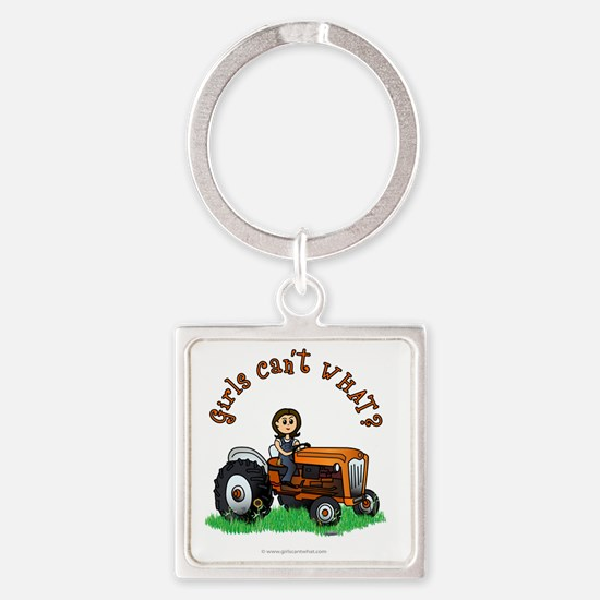 farmer-orange-light Square Keychain