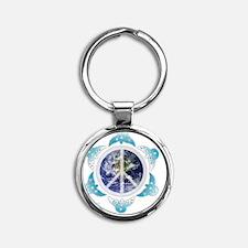 peace-dove6-ipod4-1 Round Keychain