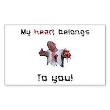 Heart belongs to you zombie Rectangle Decal