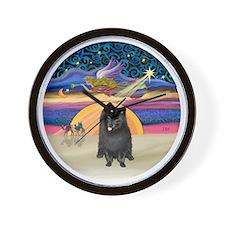 Xmas Star - Black Pomeranian Wall Clock