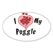 I love my puggle Oval Decal