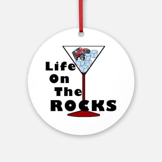 On Rocks Martini BLACK Round Ornament
